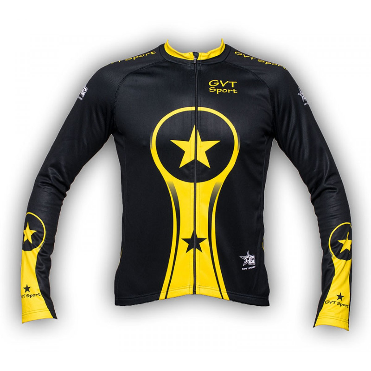 maillot cyclisme manche longue gvt yellows stars. Black Bedroom Furniture Sets. Home Design Ideas
