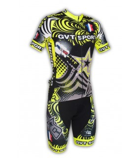 Maillot et cuissard cycliste GVT noir et fluo