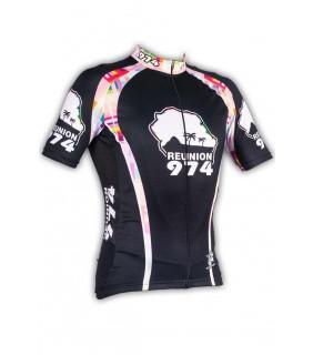Maillot cycliste GVT Reunion 974 noir