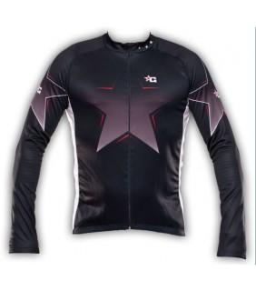 maillot cyclisme manche longue black stars cycling