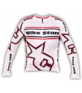 maillot cycliste manche longue bike stars blanc