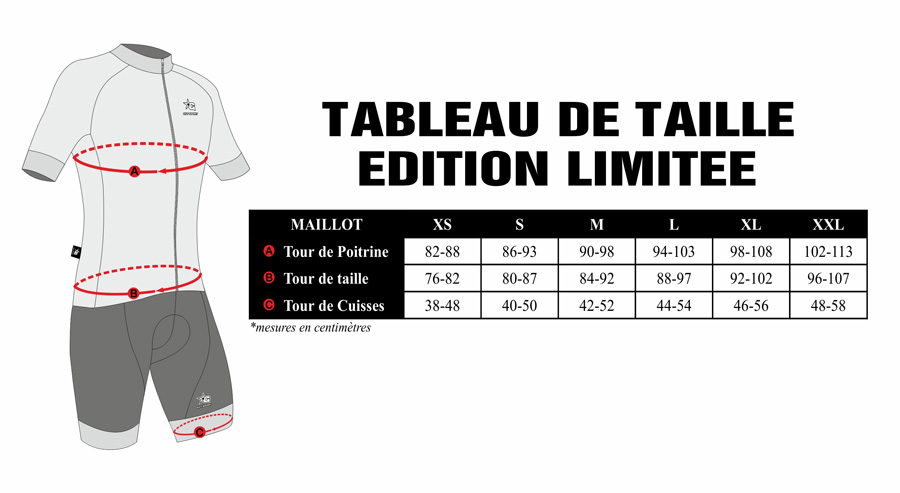 Tableau de taille Gvt Ensemble cycliste Edition Limitée